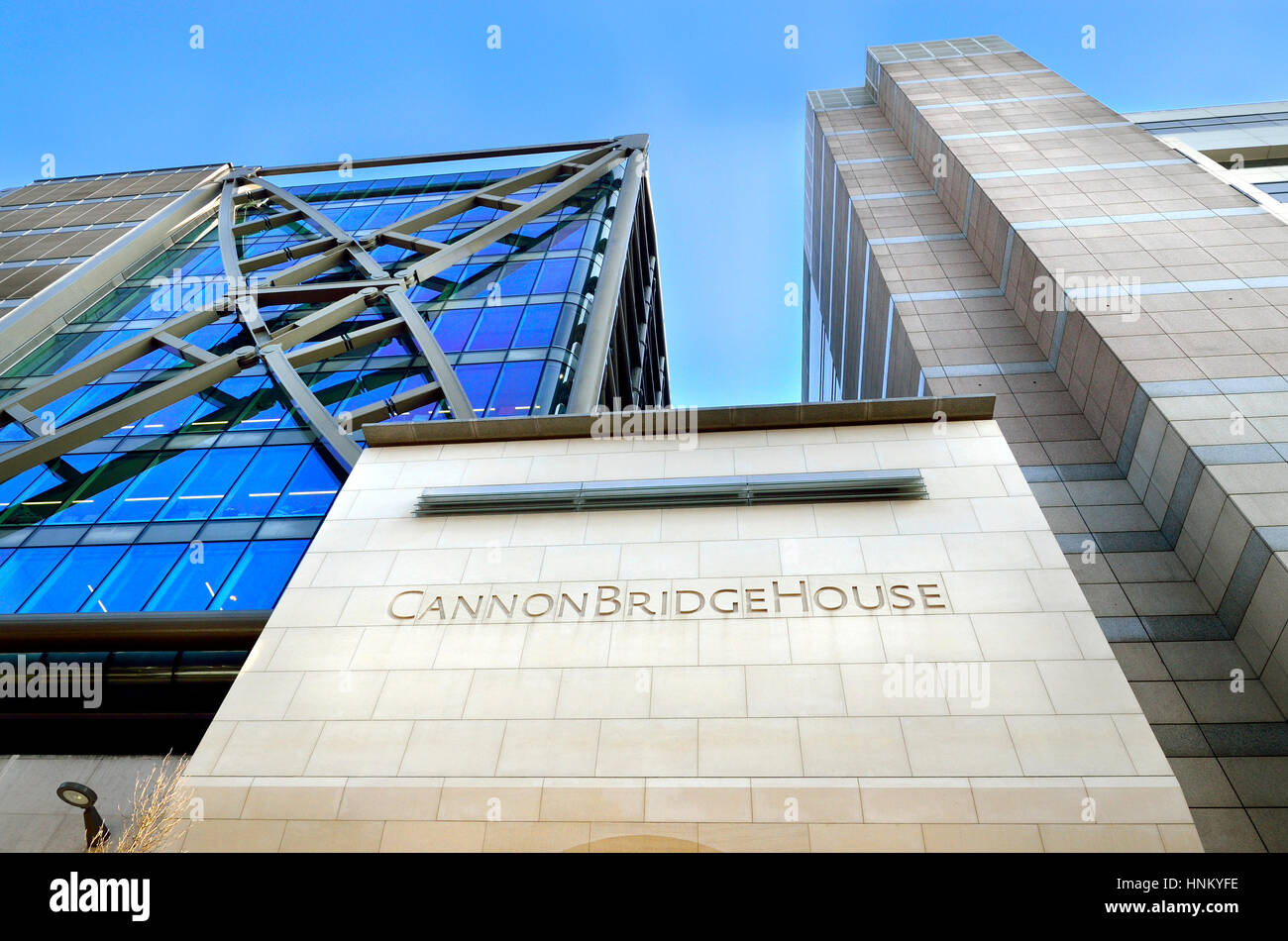London, England, UK. Cannon Bridge House or The River Building EC4 (1991) office buildings - Stock Image