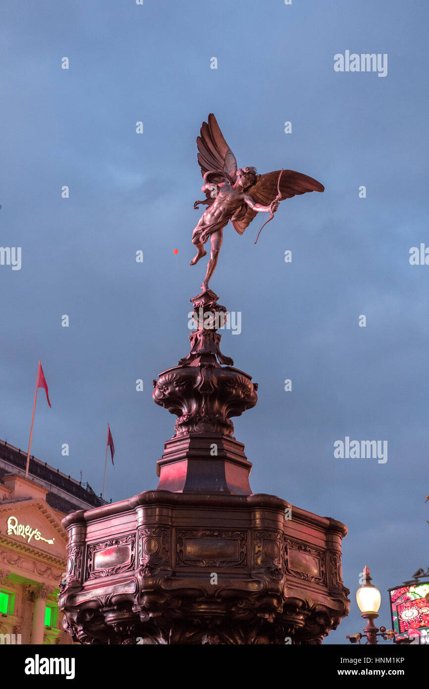 Shaftesbury Memorial Fountain, known as Statue of Eros ,on Piccadilly Circus,Londo,England - Stock Image