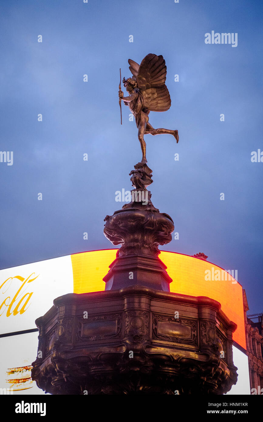 Side View of Shaftesbury Memorial Fountain, known as Statue of Eros ,on Piccadilly Circus,Londo,England - Stock Image