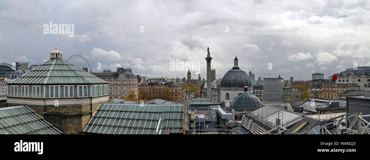An unusual rooftop panorama of London including the roofs and temperature control systems of the National Gallery - Stock Image