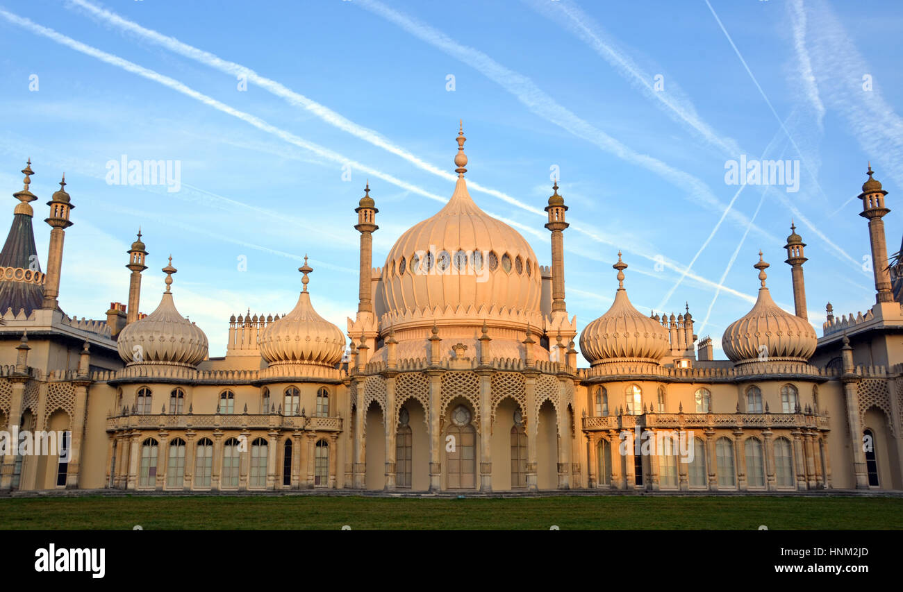 Brighton, United Kingdom - September 28, 2014: Early morning sun on the historic Royal Brighton Pavilion. - Stock Image