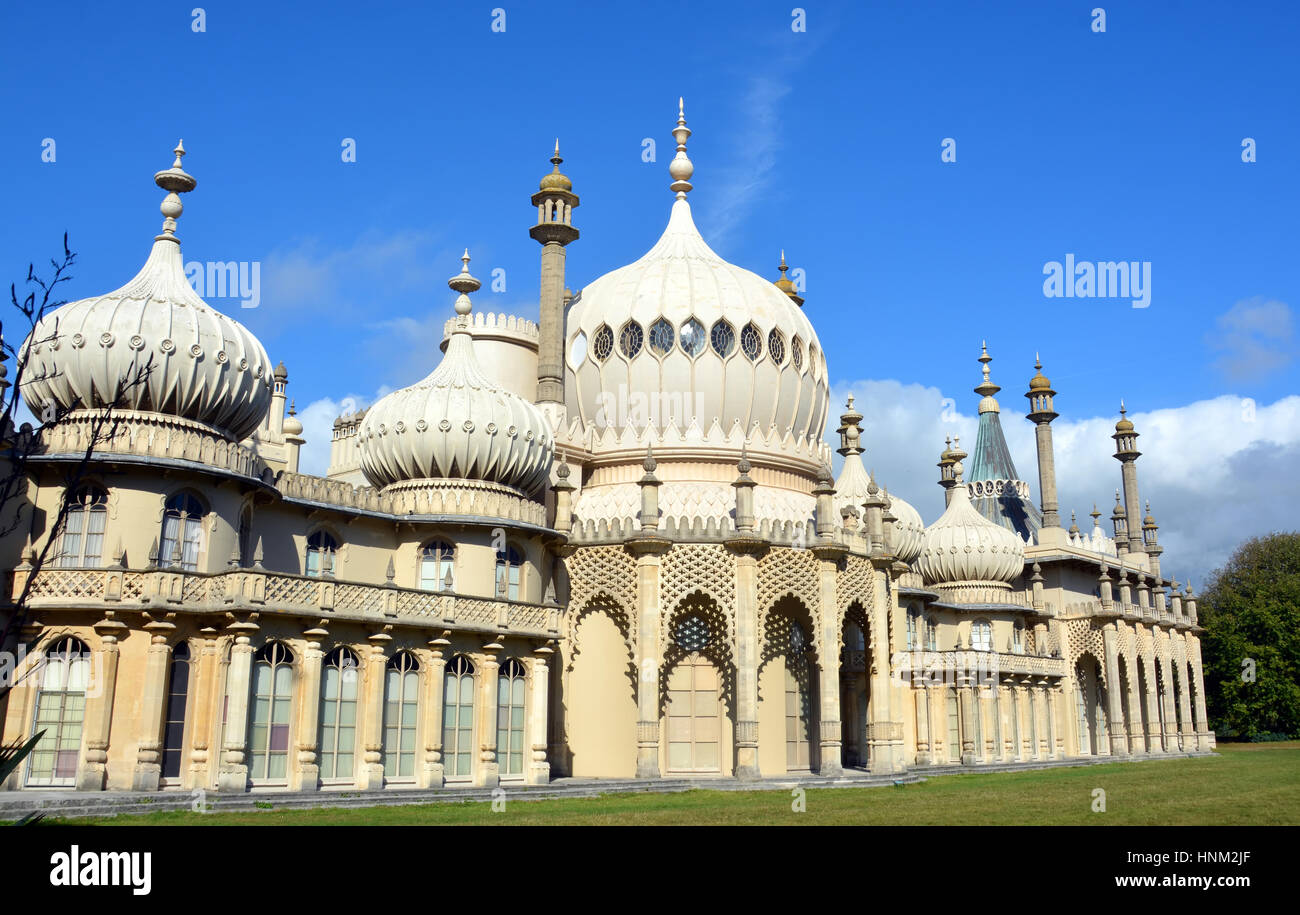 Brighton, United Kingdom - October 01, 2014: Summer sunshine on the Eastern inspired towers of the historic Royal - Stock Image