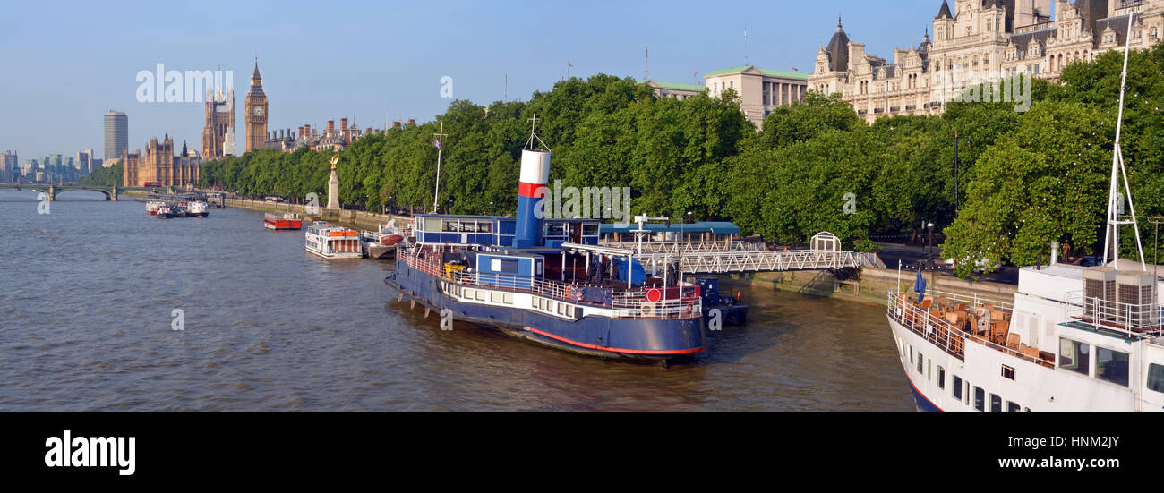Panoramic view of Victoria Embankment early one morning in Summer. Includes the Thames River, Houses of Parliament, - Stock Image