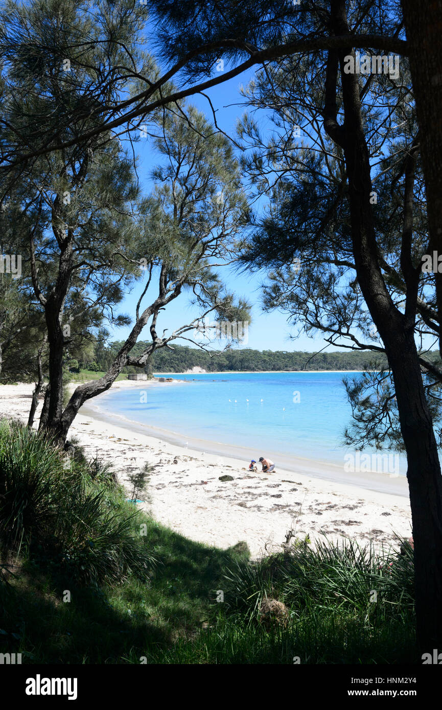 The sandy beach of Washerwoman's Beach, Bendalong, Red Point, Shoalhaven, South Coast, New South Wales, NSW, - Stock Image