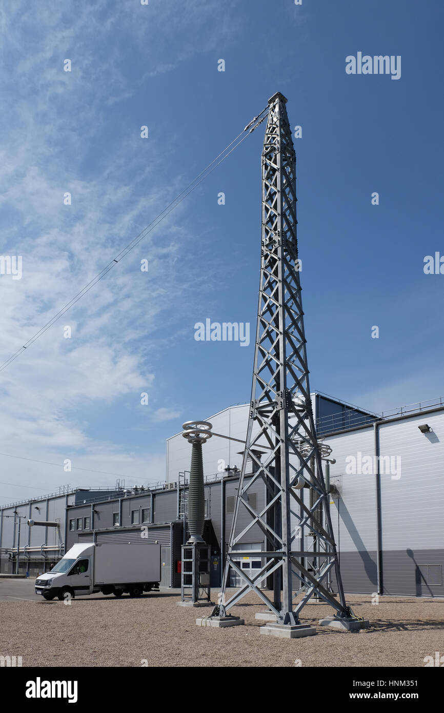 HVDC station and the cable connection tower - Stock Image