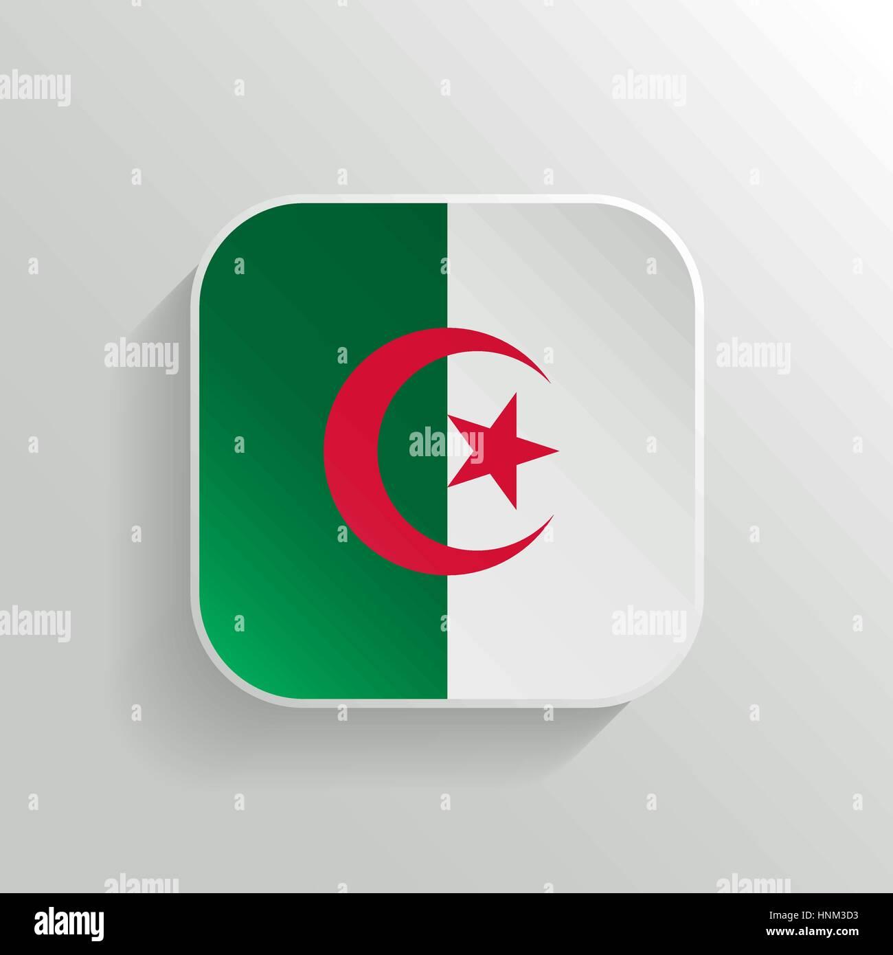 Vector Button - Algeria Flag Icon on White Background - Stock Vector