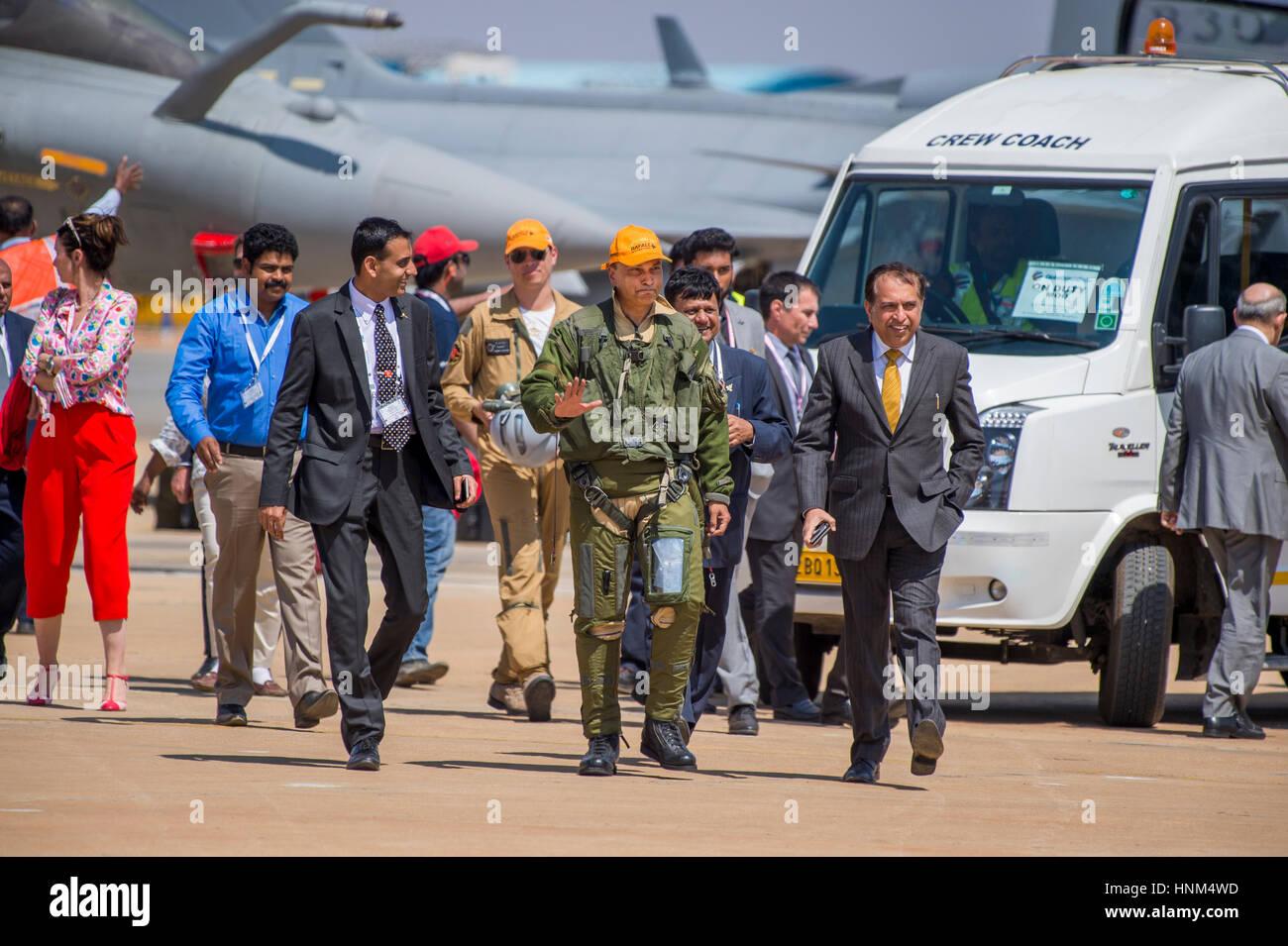India's richest man Anil Ambani after flying Rafale jet - Stock Image