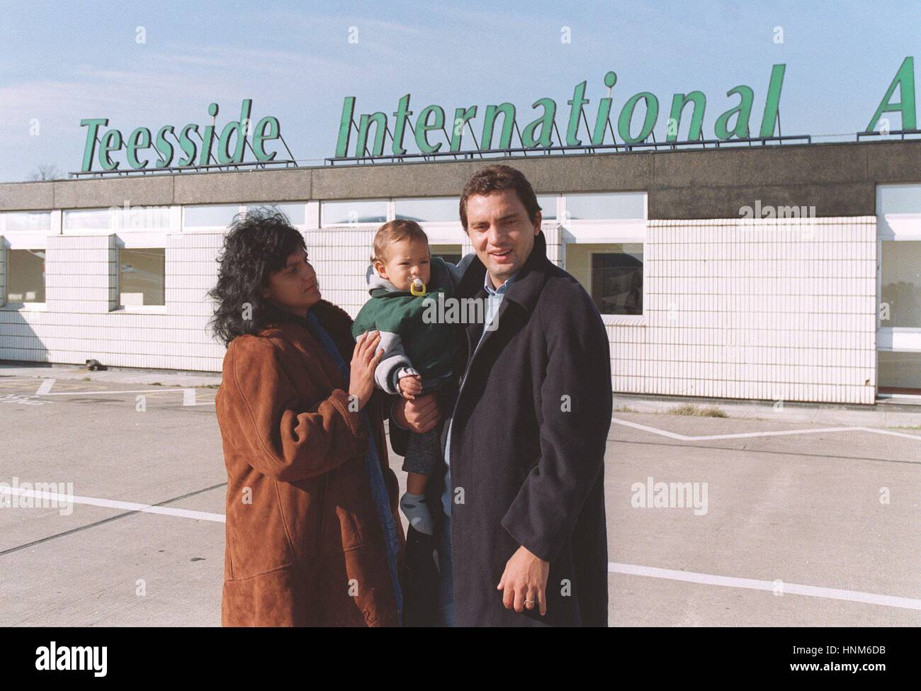 BRANCO AND FAMILY TEESIDE AIRPORT 28 February 1996 - Stock Image