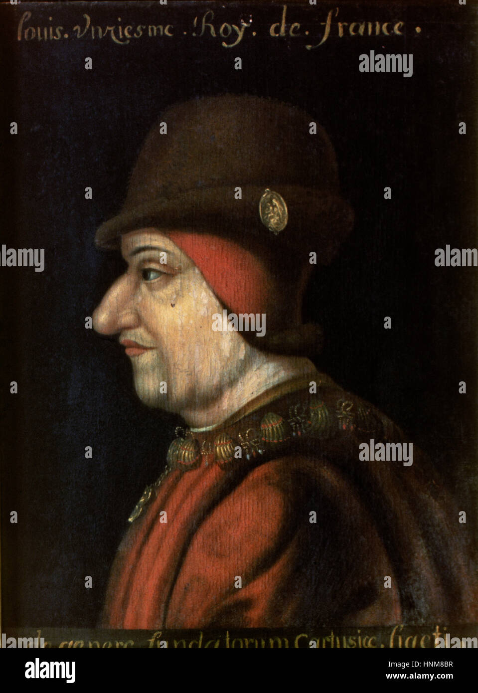 Louis XI of France (1423-1483), The Prudent. House of Valois. Portrait. Anonymous author. - Stock Image