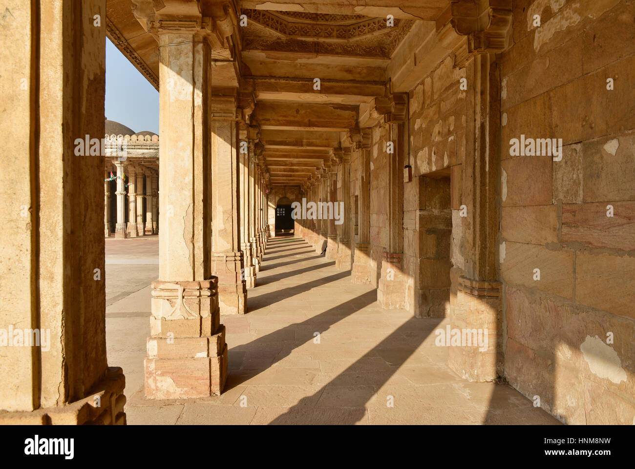 Mosque and tomb complex Sarkhej Roza is a located in the village of Makaraba, near  Ahmedabad in Gujarat state, - Stock Image