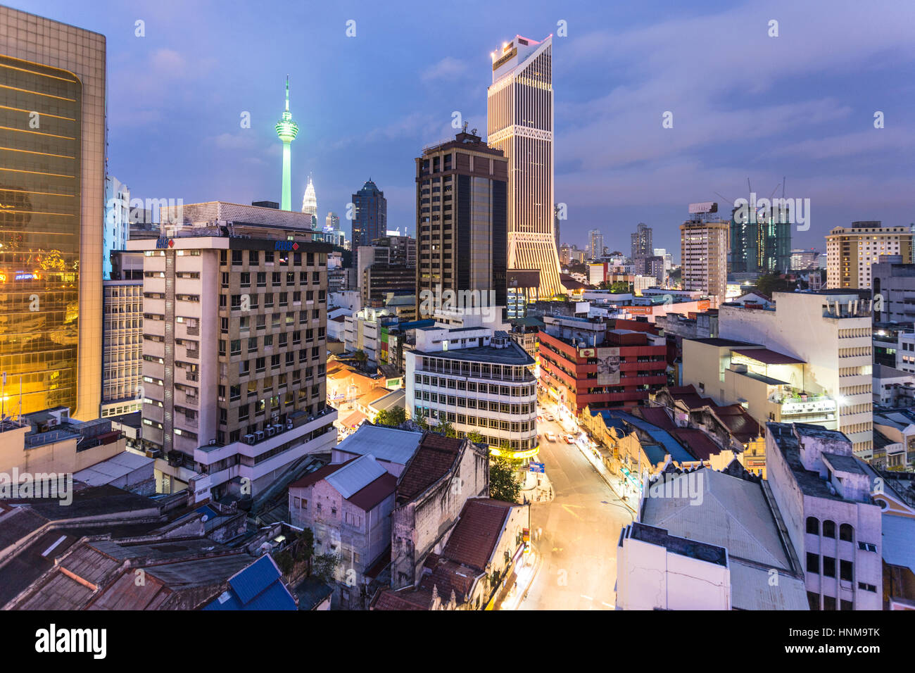 KUALA LUMPUR - An aerial view of the night on the business district of Kuala Lumpur, Malaysia capital city, an important - Stock Image