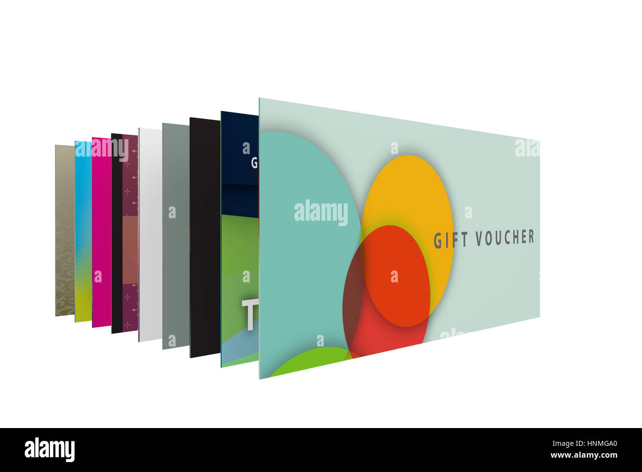 3d render of a set of designs for gift vouchers - Stock Image