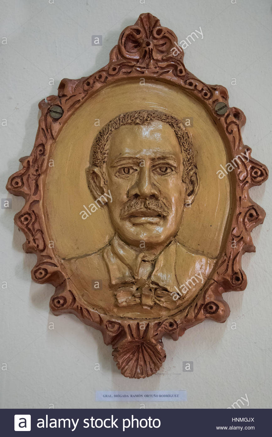 Cuban History: Ramón Ortuño Rodriguez. Portrait made of ceramic by local artists and exhibited in the - Stock Image