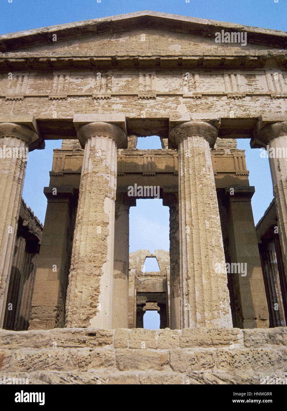 Italy. Sicily. Agrigento. Valley of the Temples. Temple of Concordia, ca.440-430 BC. Doric style. UNESCO World Heritage Stock Photo