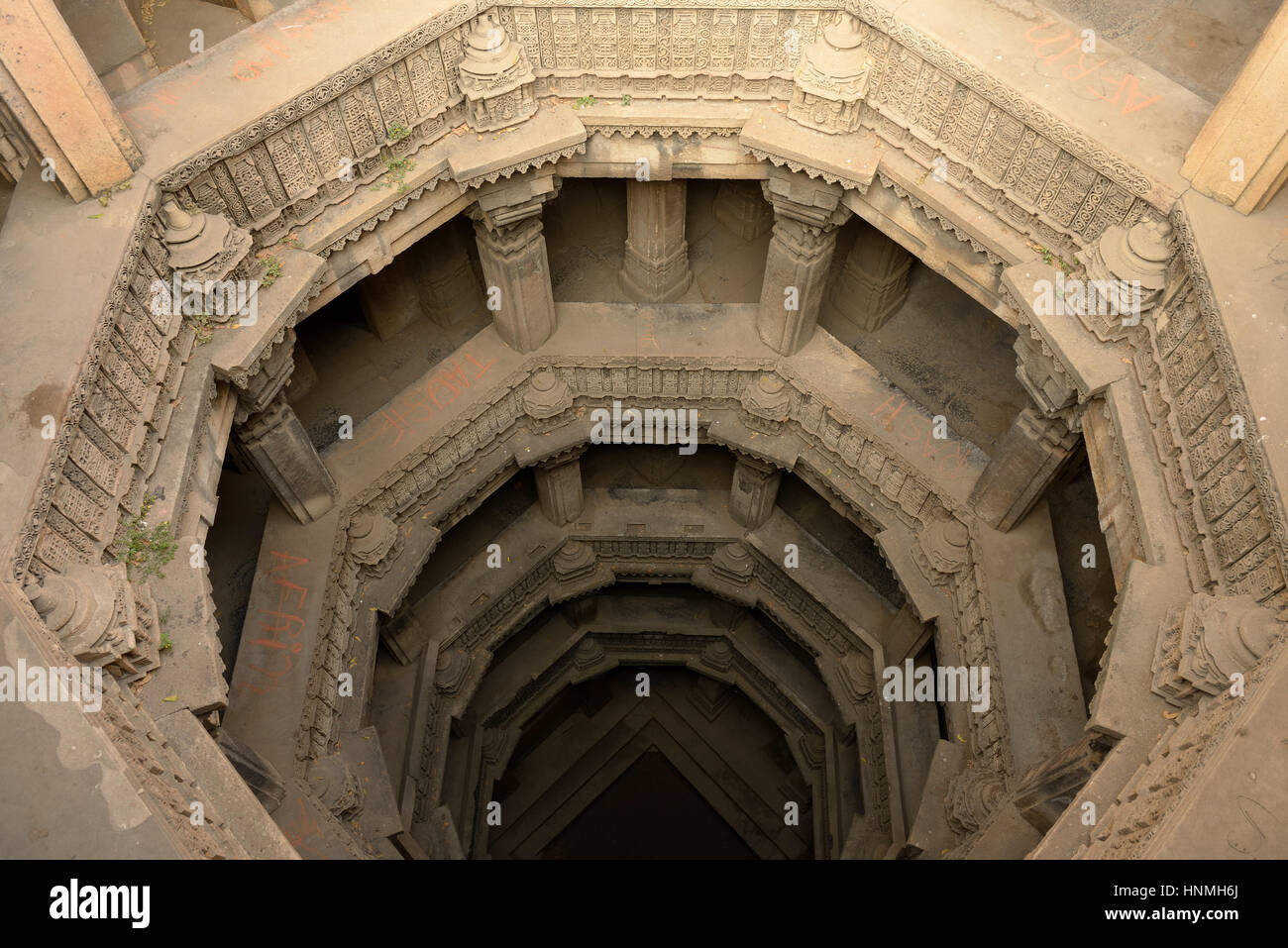 Dada Hari ni Vav stepwell is a Hindu water building in the village of Adalaj, close to Ahmedabad town in the Indian - Stock Image