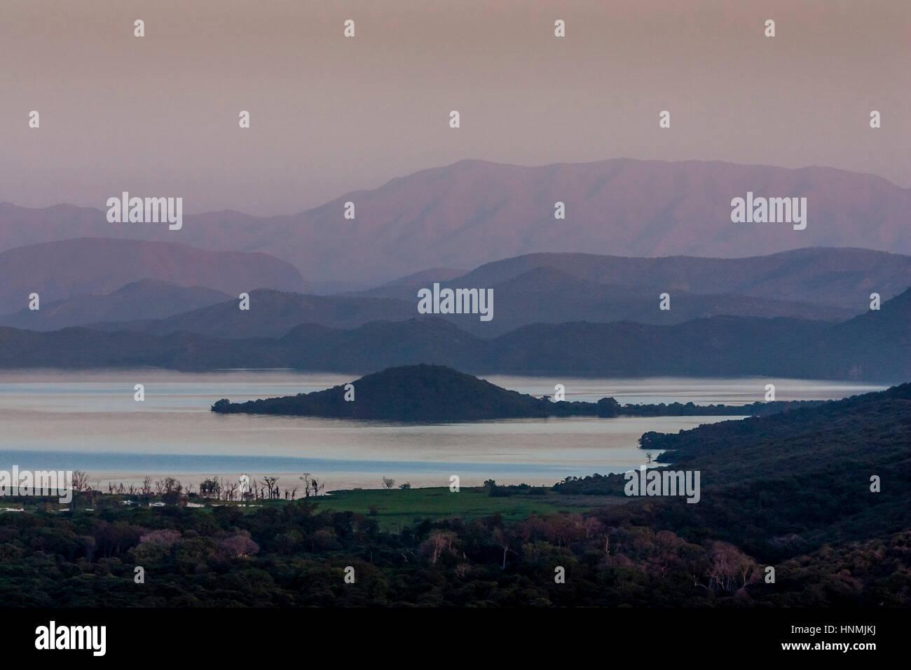 Sunset Over Lake Abaya, Nechisar National Park, Arba Minch, Ethiopia Stock Photo