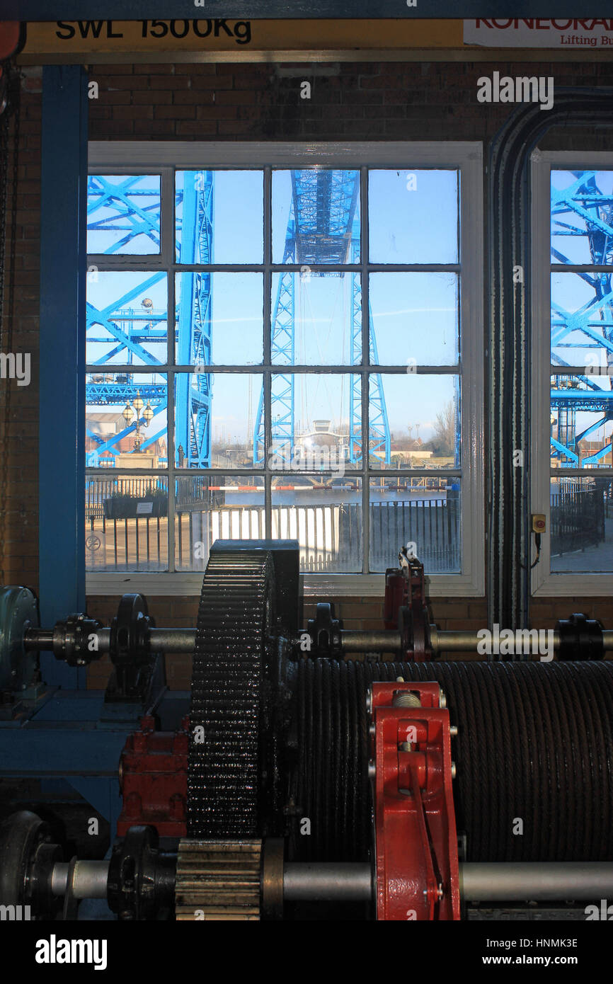 Cw 2018 Middlesbrough Transporter bridge from winding house 2  The transporter bridge over the river Tees in Middlesbrough - Stock Image