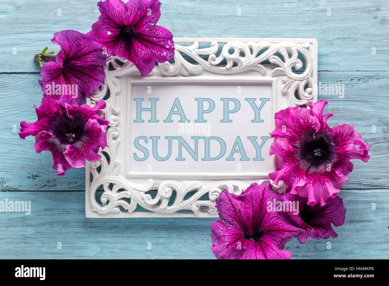 Frame With Flowers And Text Happy Sunday Stock Photo 133834923 Alamy