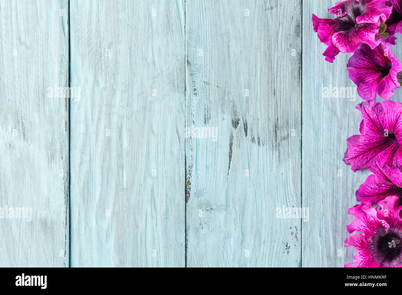 frame of flowers, background blue boards Stock Photo: 133834947 - Alamy