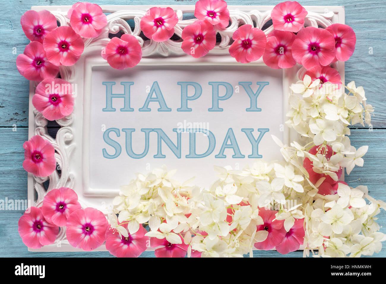 Frame Flowers Text Happy Sunday Stock Photos & Frame