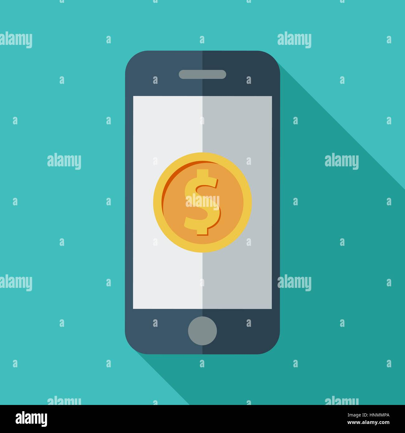 Phone with dollar sign. Color Flat design style. Vector illustration. - Stock Vector