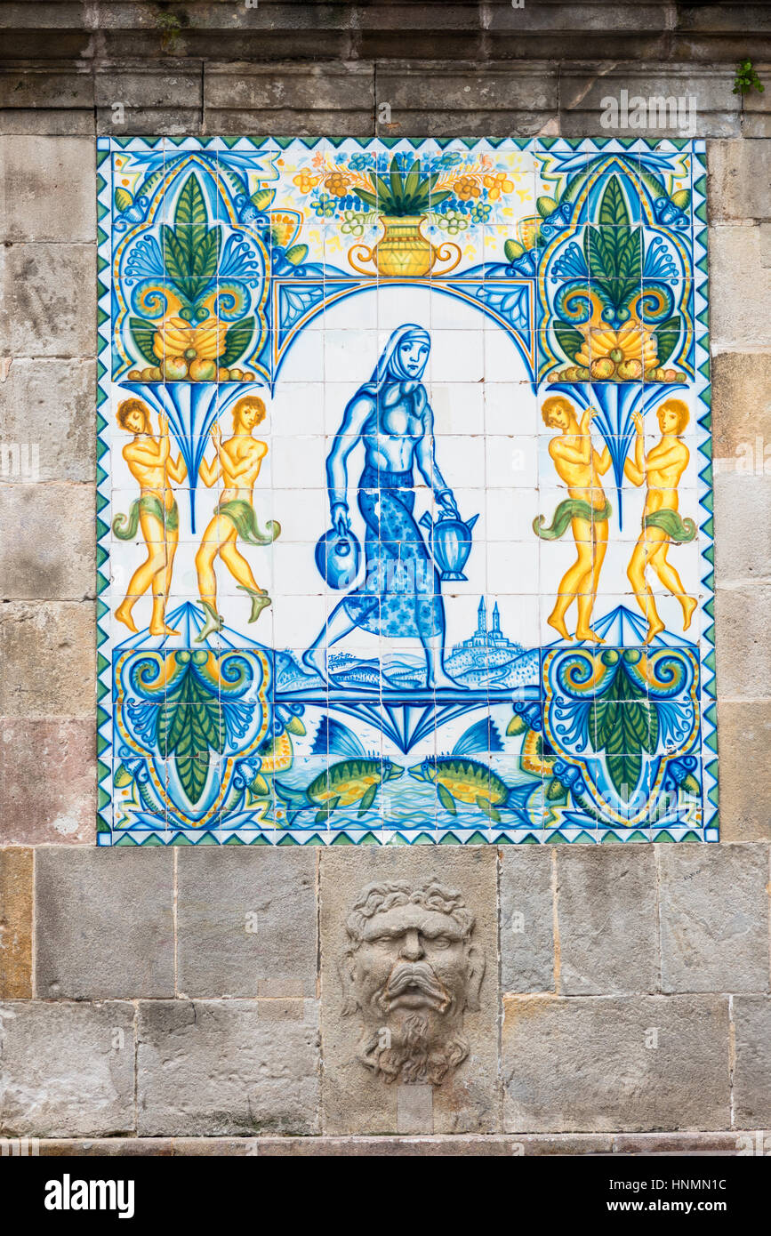 Spain, Catalonia, Barcelona, Gothic Quarter, fountain of Santa Anna. Stock Photo