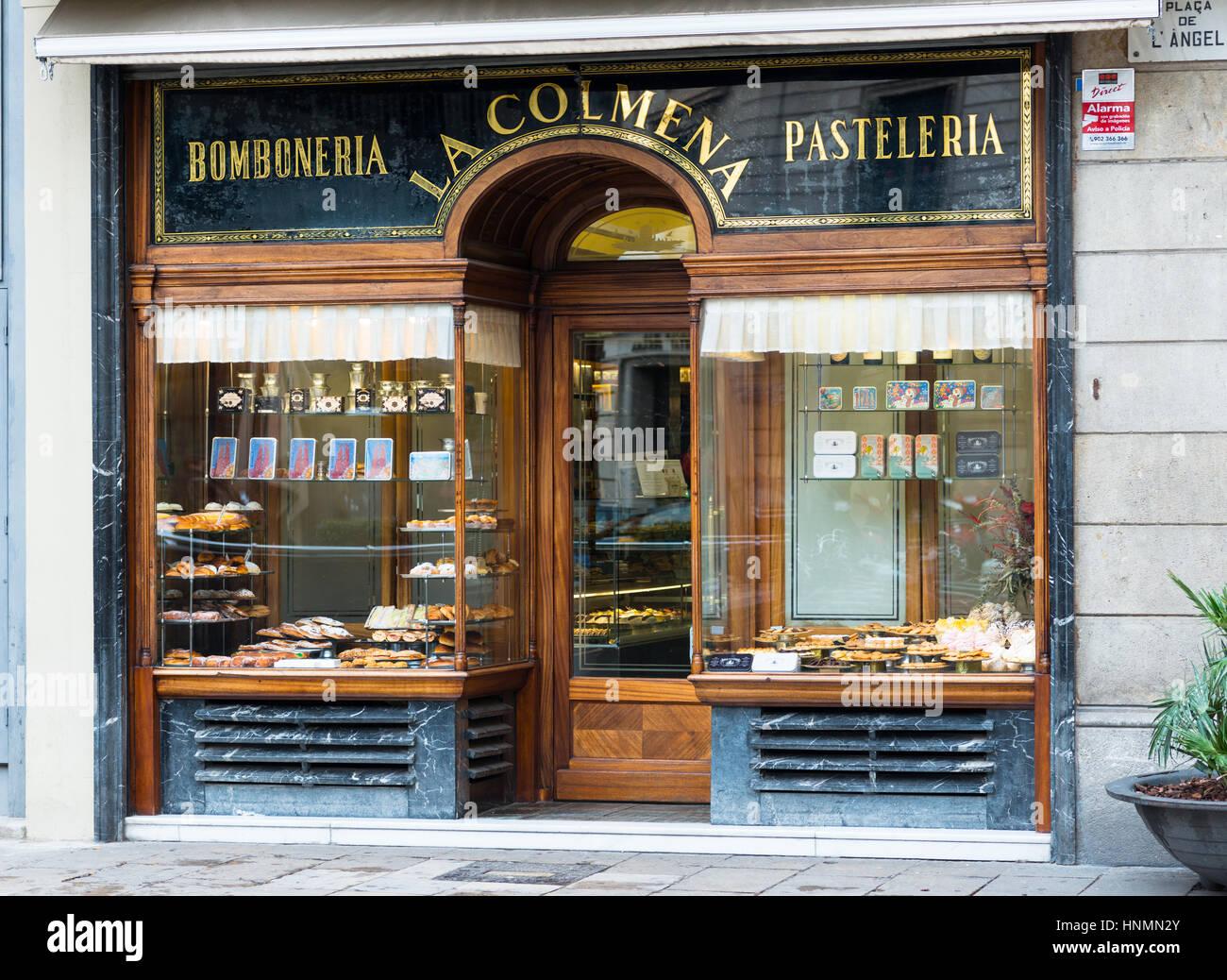 Traditional sweet and pastry shop (bomboneria pasteleria) La Colmena in Plaça del Ángel, Barcelona, Catalonia, - Stock Image