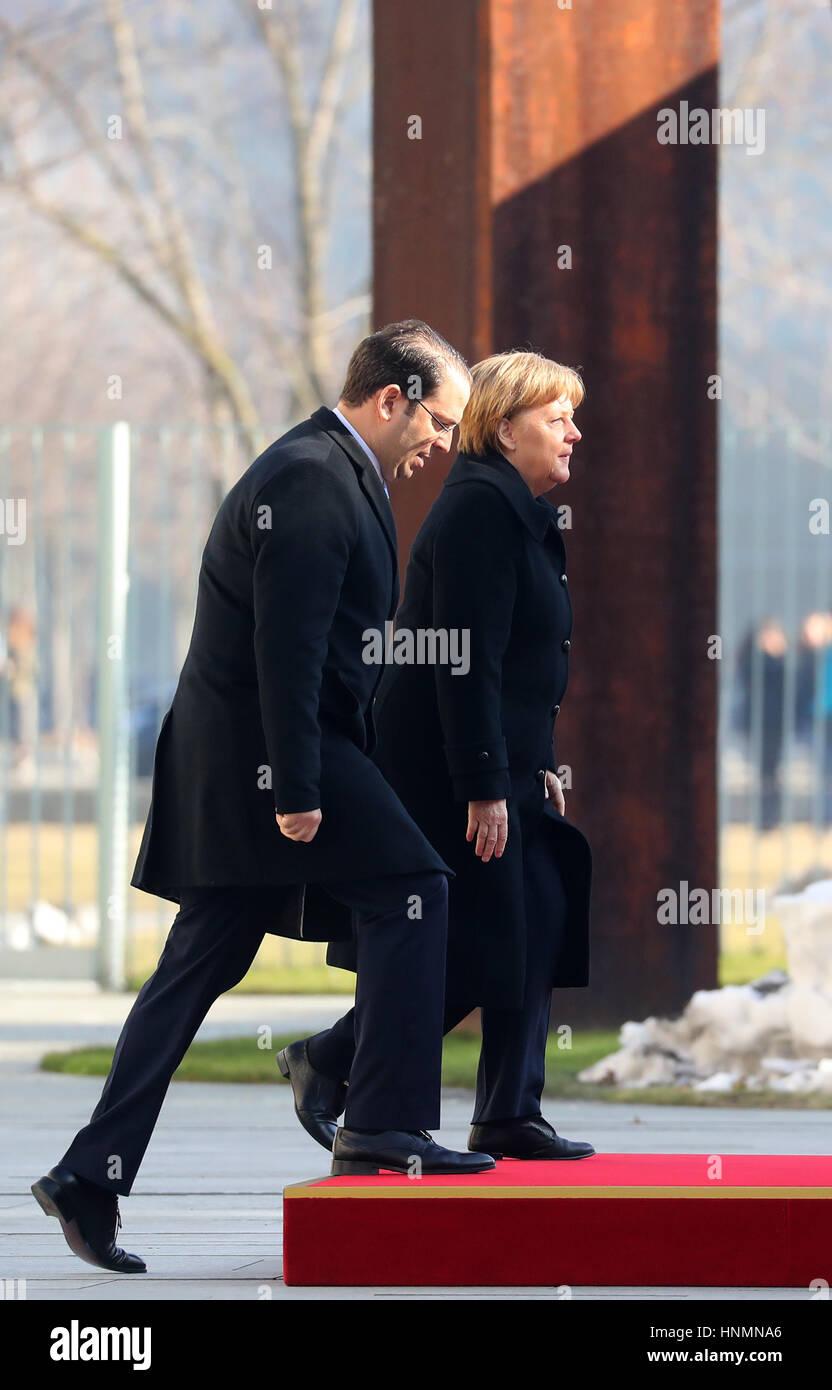 Berlin, Germany. 14th Feb, 2017. German Chancellor Angela Merkel (CDU) welcomes Tunisian Prime Minister Youssef Stock Photo