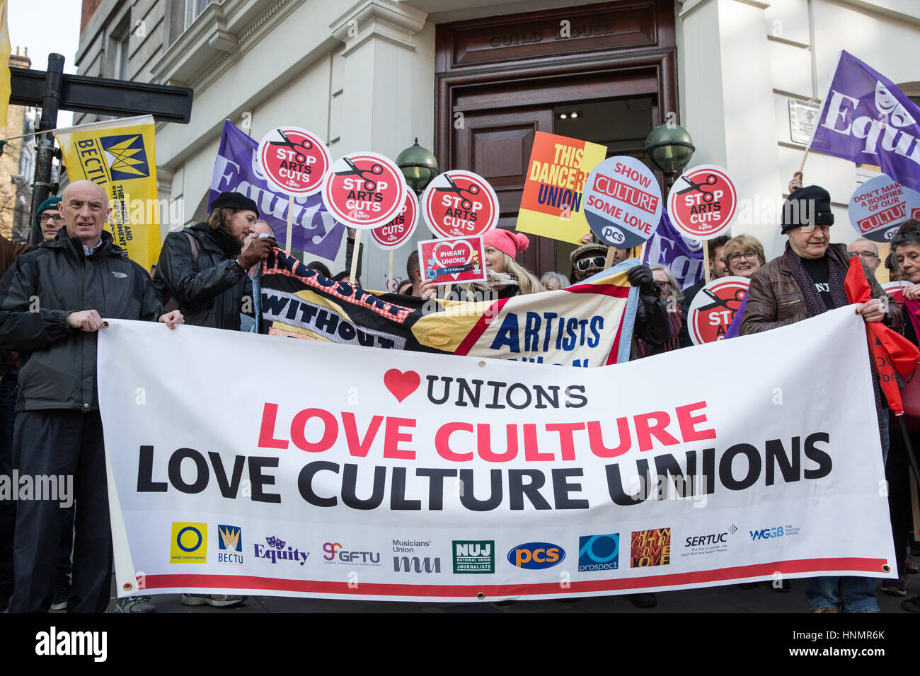 London, UK. 14th Feb, 2017. Trade unionists and supporters from the Show Culture Some Love campaign mark Show Culture - Stock Image