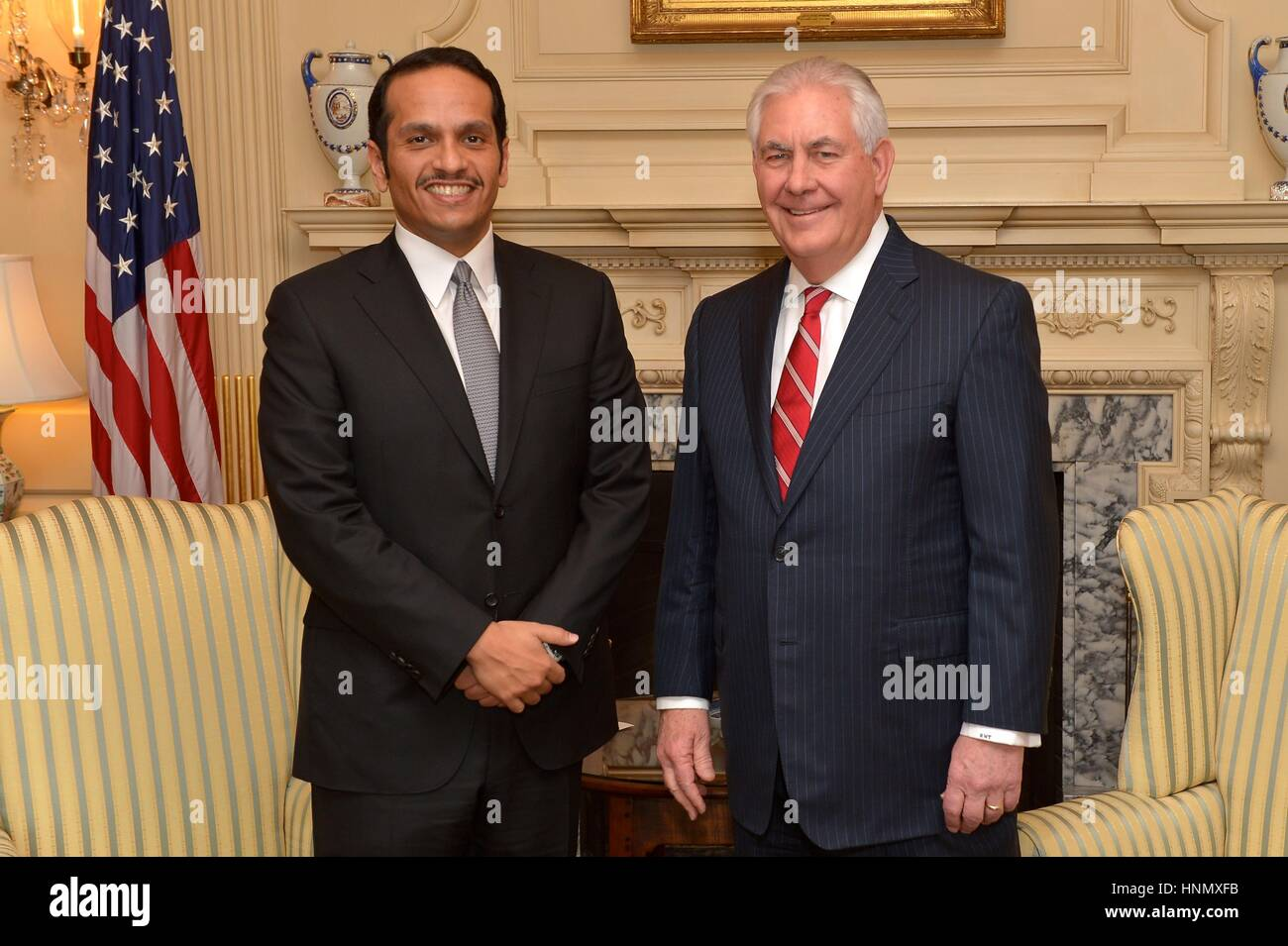 U.S. Secretary of State Rex Tillerson stands for a photo with Qatari Foreign Minister Sheikh Mohammed bin Abdulrahman Stock Photo