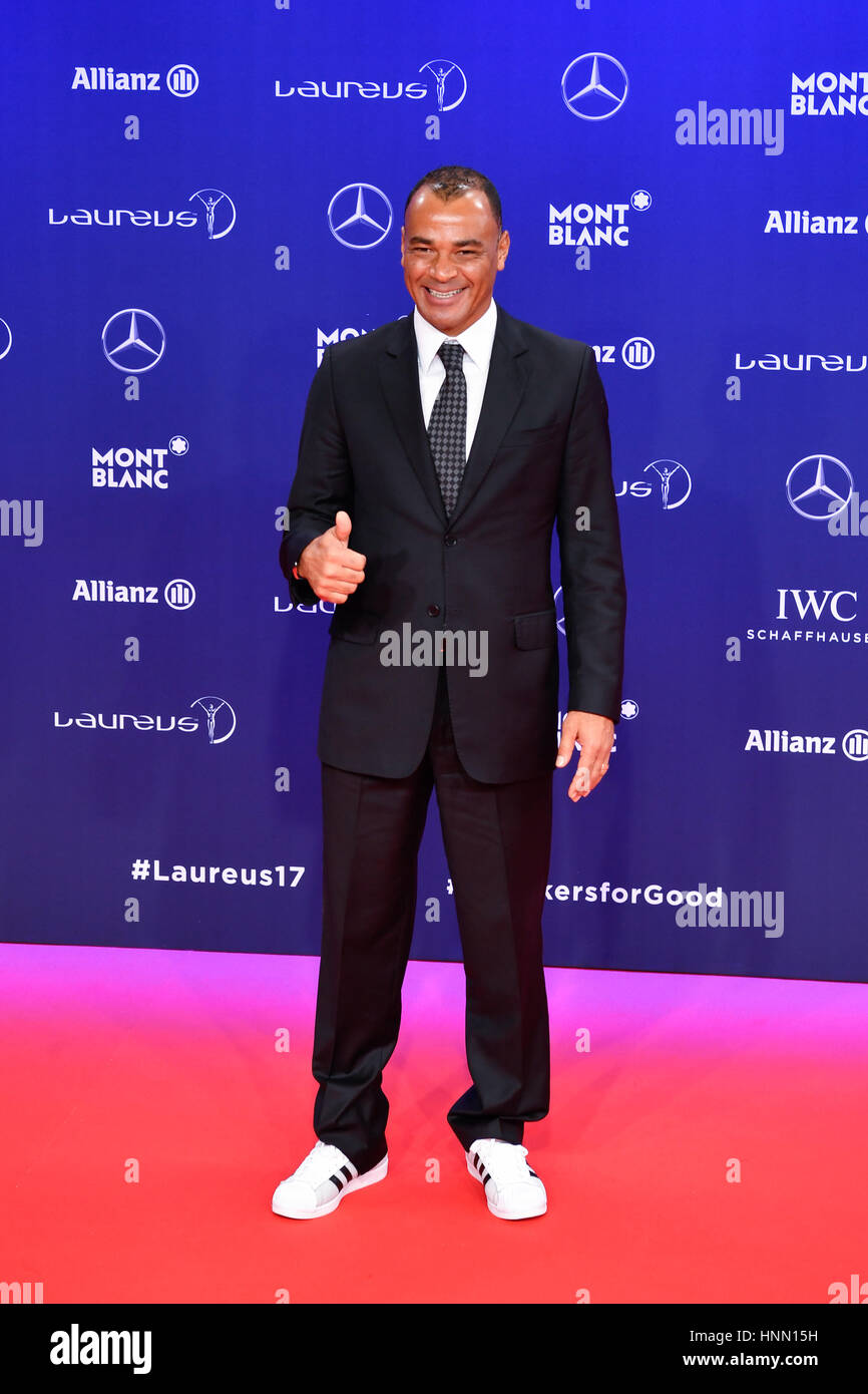 Larvotto, Brazilian former professional footballer poses for photos on the red carpet at the Laureus World Sports - Stock Image