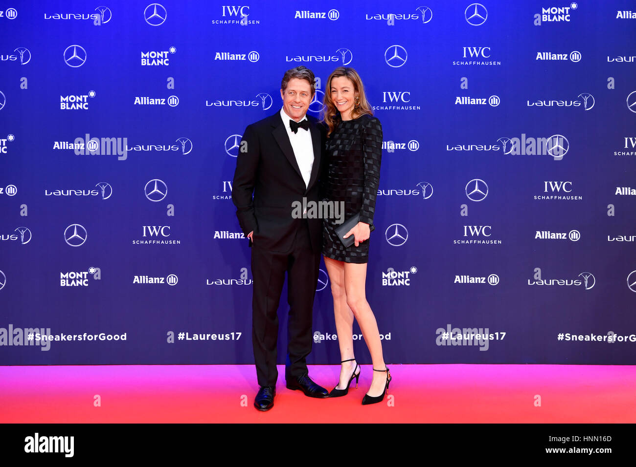 Larvotto. 14th Feb, 2017. Host Hugh Grant (L) and his guest poses for photos on the red carpet at the Laureus World - Stock Image
