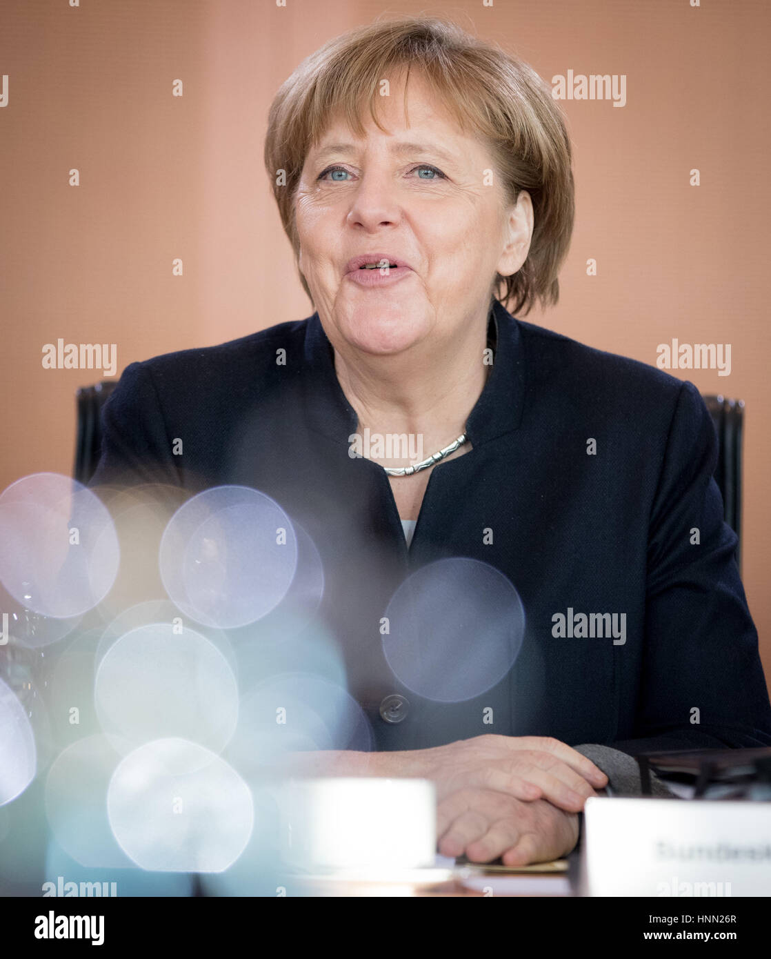 Berlin, Germany. 15th Feb, 2017. German Chancellor Angela Merkel (CDU) sits at the start of a federal cabinet meeting Stock Photo