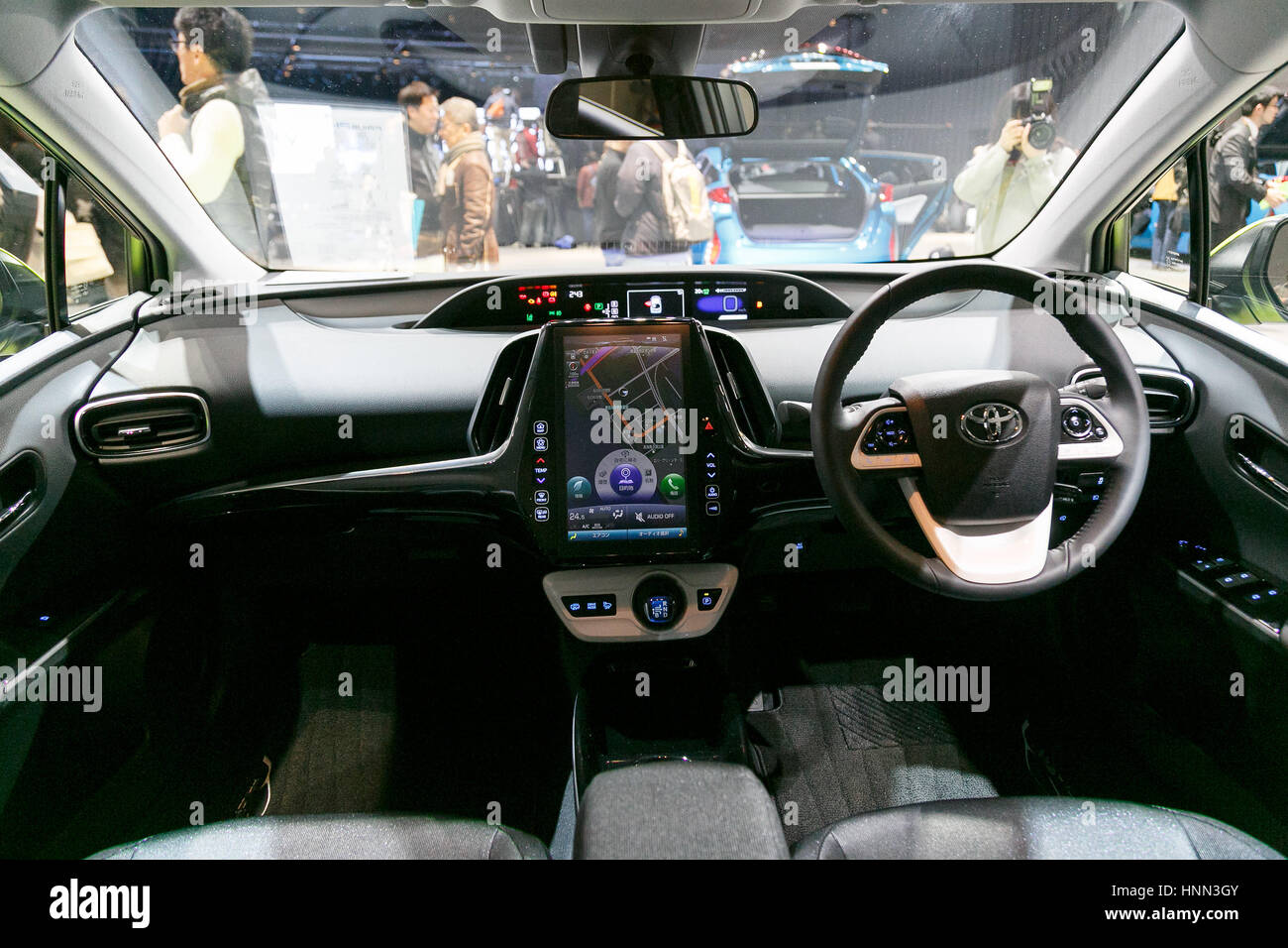 Tokyo, Japan. 15th February 2017. The 11.6 inch T-Connect SD Navigation System on display at the interior of the - Stock Image