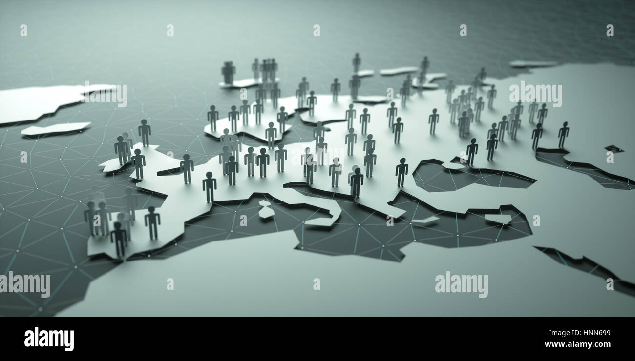 3D illustration of people on the map, representing the country's demography. - Stock Image