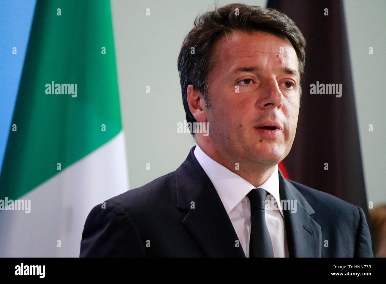 Matteo Renzi - Treffen der dt. Bundeskanzlerin mit dem italienischen Ministerpraesidenten und dem franzoesischen - Stock Image