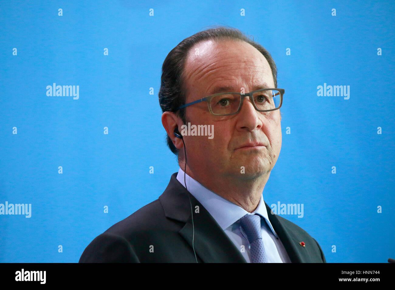 Francois Hollande - Treffen der dt. Bundeskanzlerin mit dem italienischen Ministerpraesidenten und dem franzoesischen - Stock Image
