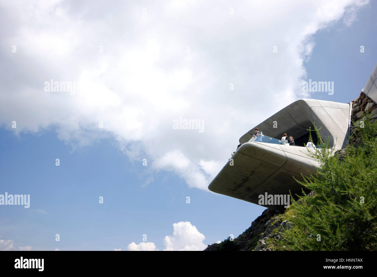 Zaha Hadid Architects Messner Corones museum Italy exterior view of the cantilever balcony from below Inexhibit - Stock Image