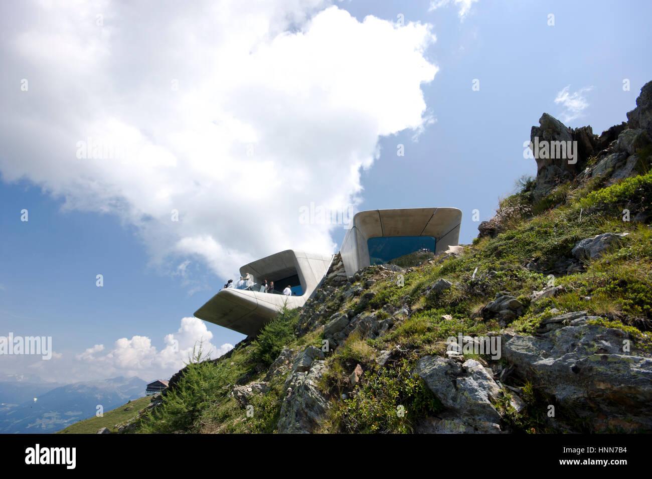 Zaha Hadid Architects Messner Corones Mountain Museum Italy exterior view from below Inexhibit - Stock Image