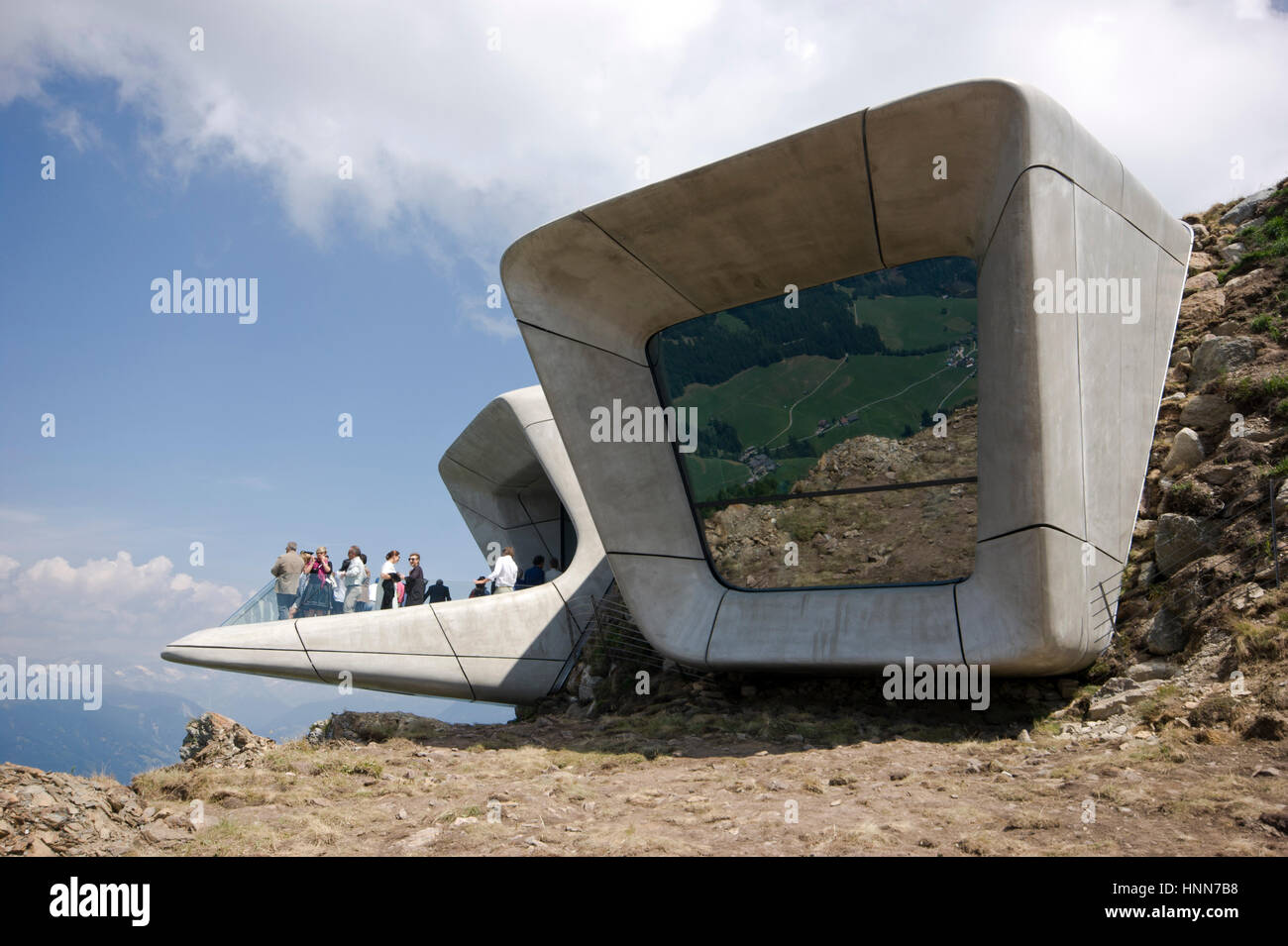 Zaha Hadid Architects Messner Corones Mountain Museum Italy, view of the cantileverd terrace with people Inexhibit - Stock Image