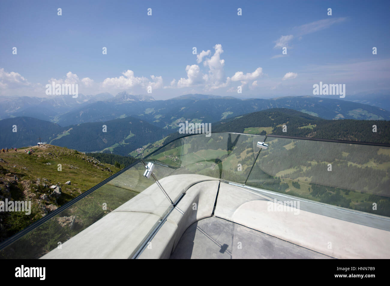 Zaha Hadid Architects Messner Corones Mountain Museum Italy, view from the balcony / outdoor terrace overlooking - Stock Image