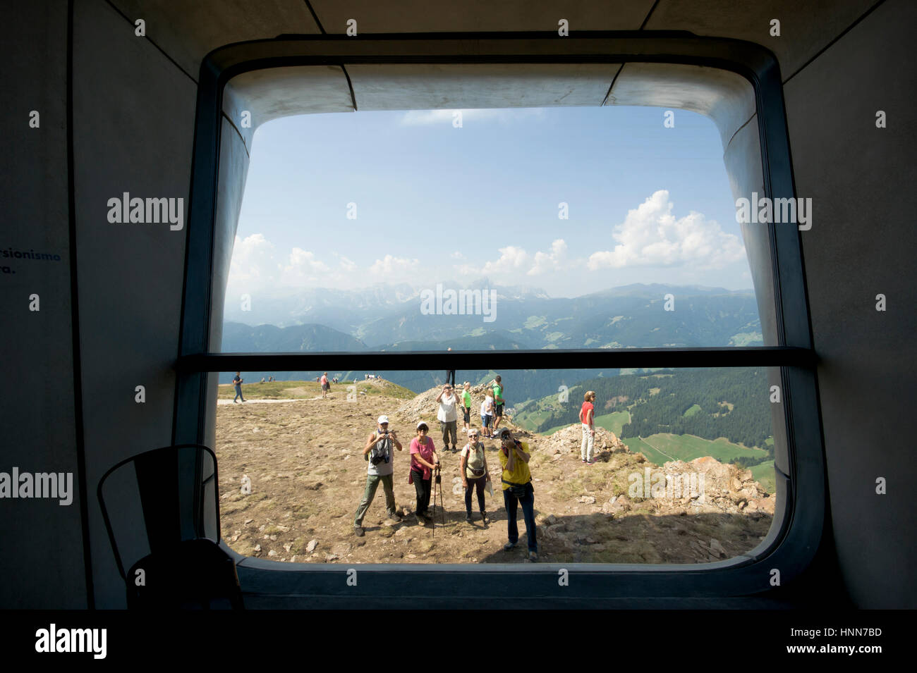 Interior view of the Messner Mountain Museum Corones in Italy by Zaha Hadid Architects Inexhibit - Stock Image