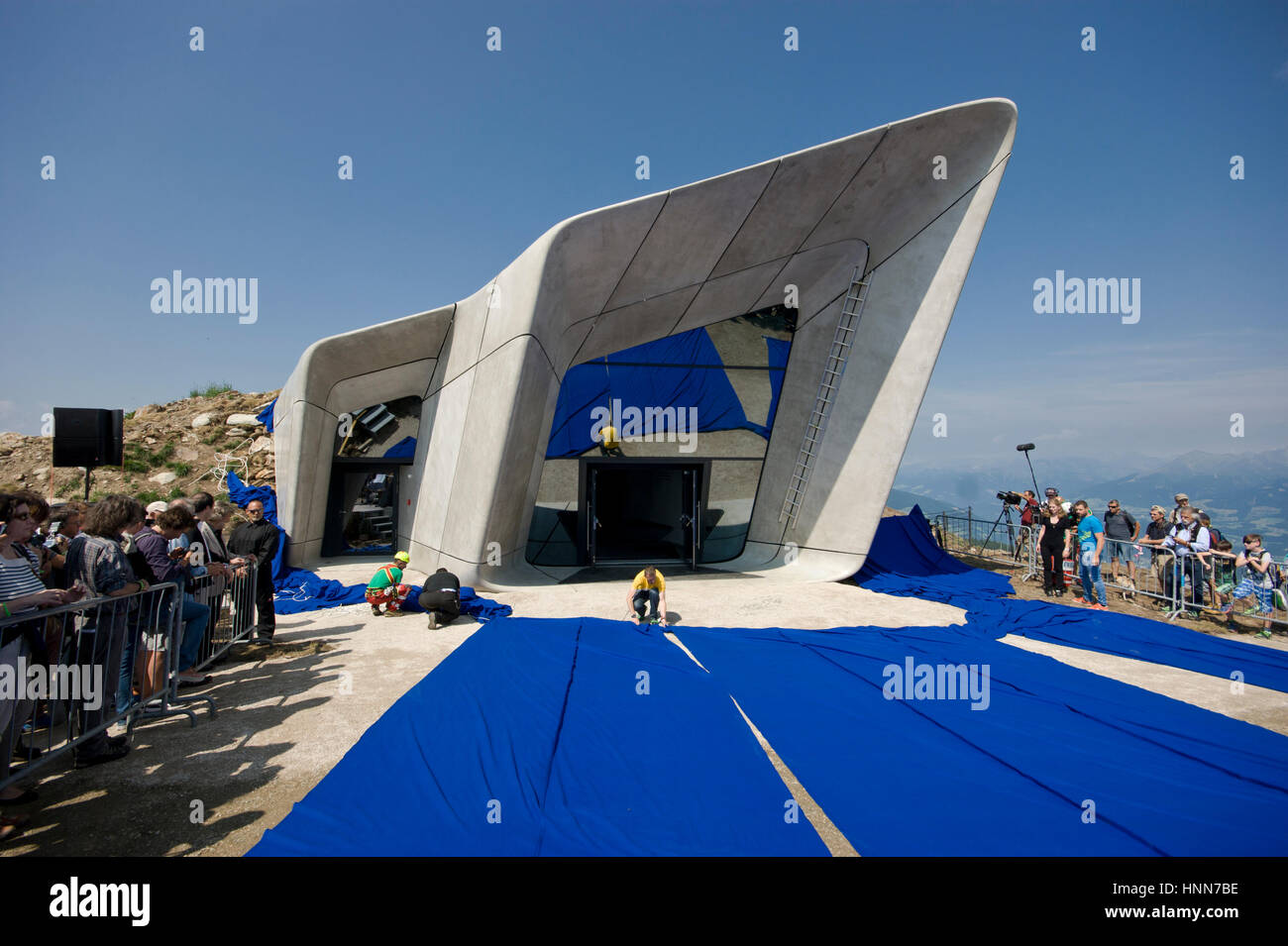 Grand opening of the Messner Mountain Museum Corones in Italy designed by Zaha Hadid Architects Inexhibit - Stock Image
