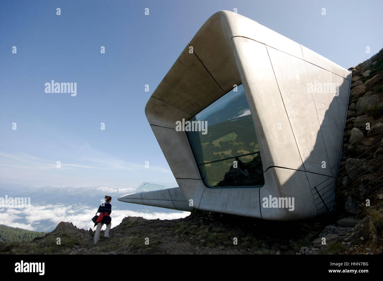 Zaha Hadid Architects Messner Mountain Museum Corones Italian alps Inexhibit - Stock Image