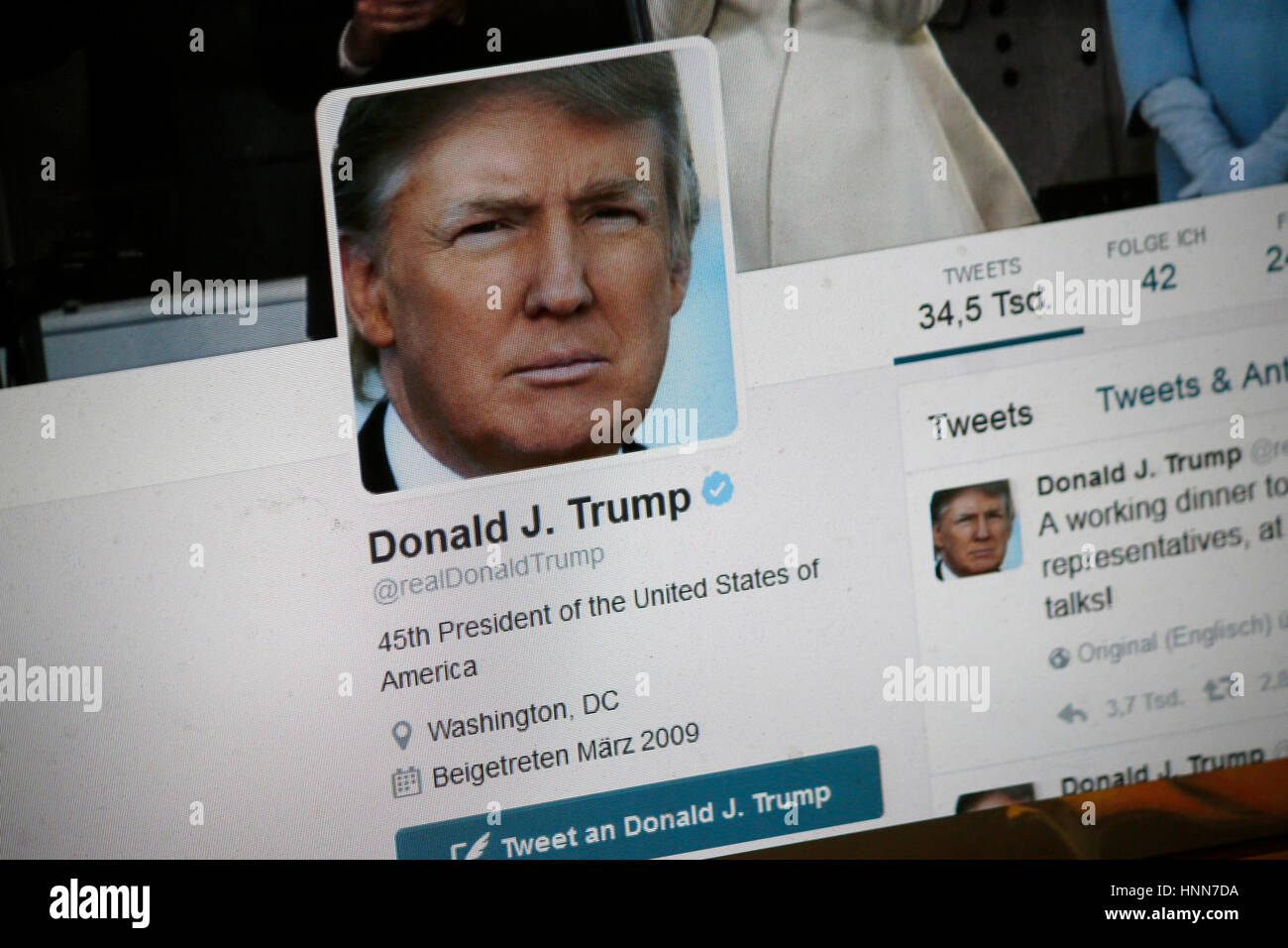 das Twitter Account des US amerrikanischen Praesidenten Donald Trump, Berlin. - Stock Image