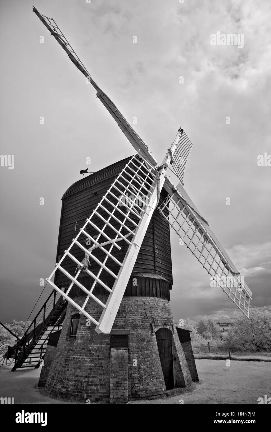 Black and white Infrared photograph of old windmill at Avoncroft Museum which is home to over 30 historic buildings - Stock Image