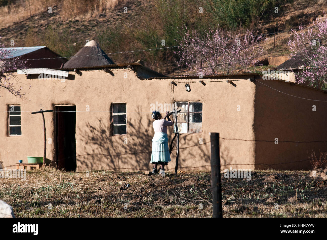Local rural inhabitants in the Giants Castle region of Kwazulu Natal South Africa - Stock Image