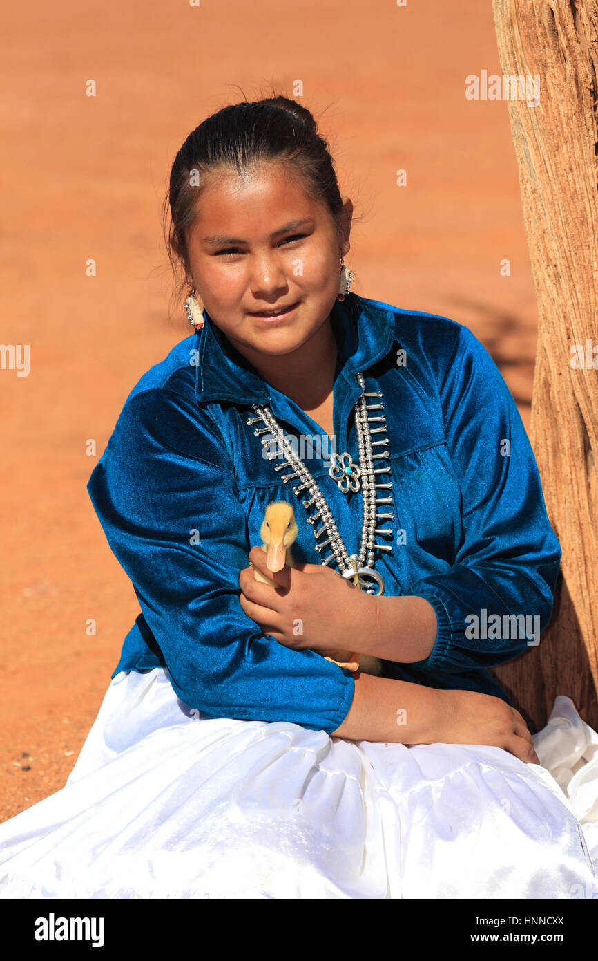 Navajo Nativs, Monument Valley, Utah, USA, Northamerica, girl with duckling - Stock Image