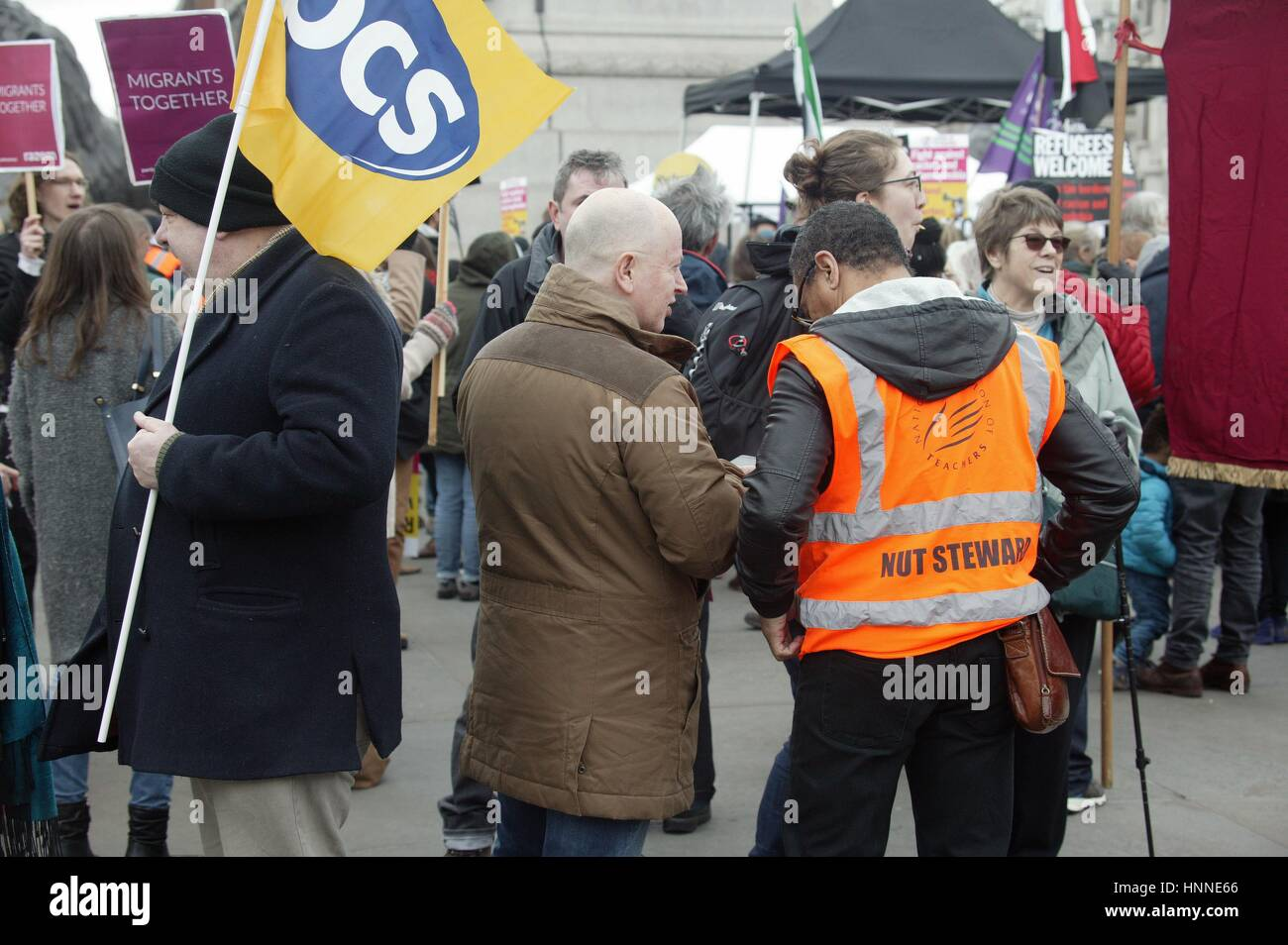Refugees Welcome Here, Stand Up To Racism Protest at Trafalgar Square, London Stock Photo
