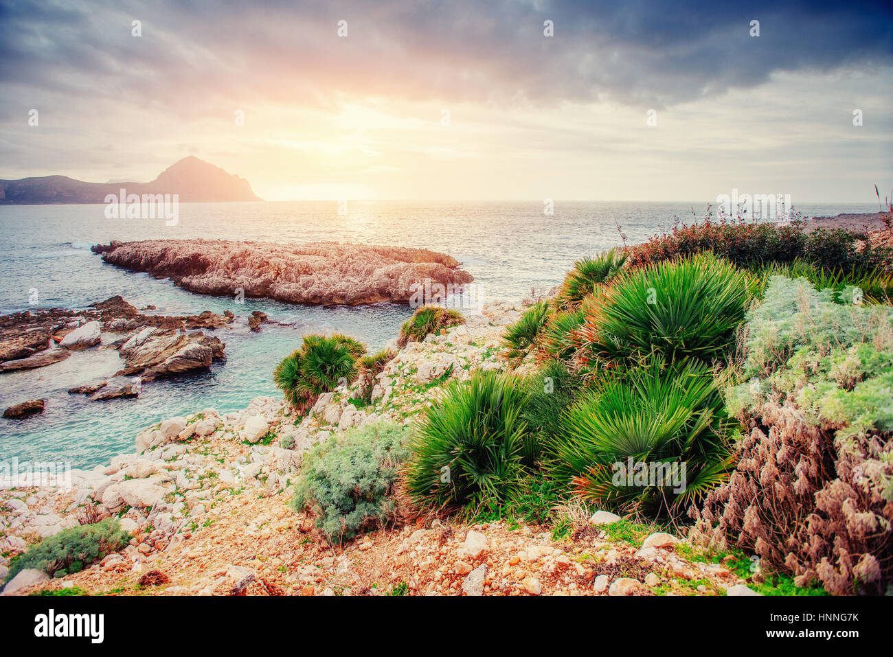 Spring panorama of sea coast city Trapany. Sicily, Italy, Europe - Stock Image